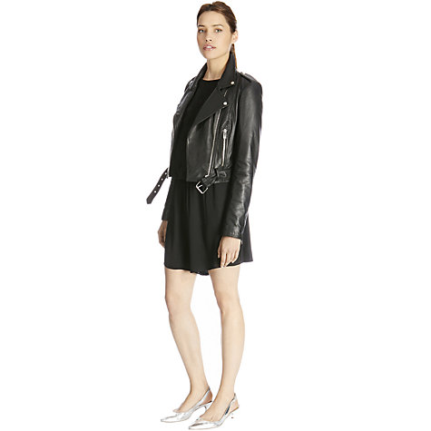Buy Warehouse Cropped Leather Biker Jacket, Black Online at johnlewis.com