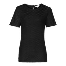 Buy Reiss Serena Spot Lace T-Shirt, Black Online at johnlewis.com