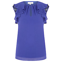 Buy Kaliko Silk Sequin Sleeve Blouse, Purple Online at johnlewis.com