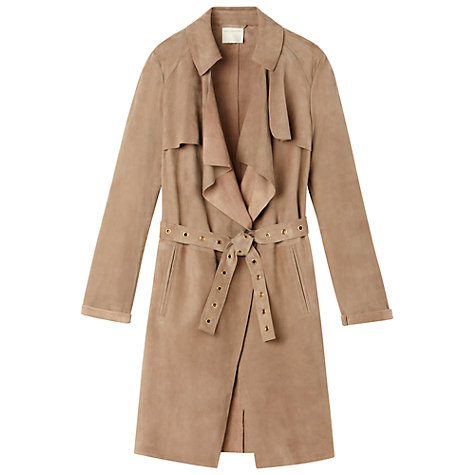 Buy Gérard Darel Suede Trench Coat, Mastic Online at johnlewis.com