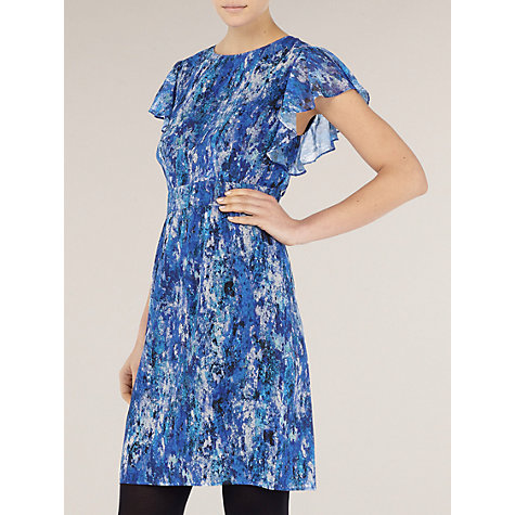 Buy Kaliko Inex Print Waterfall Sleeve Dress, Blue Online at johnlewis.com