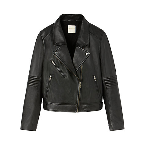 Buy Gérard Darel Leather Perfecto, White/Black Online at johnlewis.com
