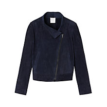 Buy Gérard Darel Zippered Suede Jacket, Navy Blue Online at johnlewis.com