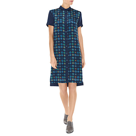 Buy NW3 by Hobbs Silk Doodle Dress, Oxford Blue Online at johnlewis.com