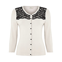 Buy Precis Petite Lace Embroidered Cardigan, Cream Online at johnlewis.com