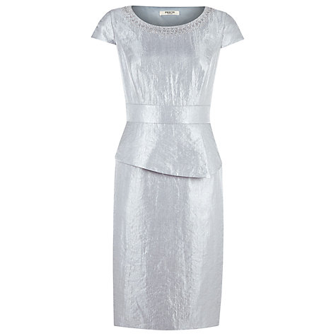 Buy Precis Petite Embellished Peplum Dress, Grey Online at johnlewis.com