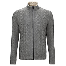 Buy Tommy Hilfiger Myles Cable Teddy Cardigan, Silver Fog Heather Online at johnlewis.com