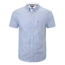 Buy Tommy Hilfiger Bas Stripe Short Sleeve Shirt, Blue Online at johnlewis.com