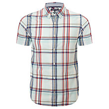 Buy Tommy Hilfiger Hero Check Short Sleeve Shirt, Fair Aqua Online at johnlewis.com