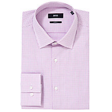 Buy BOSS Jenno Check Long Sleeve Shirt, Pink Online at johnlewis.com