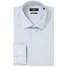 Buy BOSS Jenno Check Long Sleeve Shirt, Blue Online at johnlewis.com