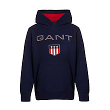 Buy Gant Boys' Shield Hoodie, Navy Online at johnlewis.com