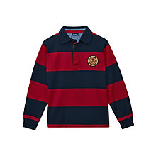 Buy Gant Boys' Bar Stripe Rugby Shirt, Navy/Red Online at johnlewis.com