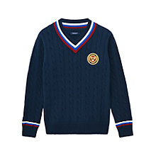 Buy Gant Boys' Cable Knit Cotton Jumper, Navy Online at johnlewis.com