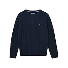 Buy Gant Boys' Lambswool Knit Jumper, Navy Online at johnlewis.com