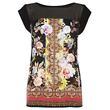 Buy Oasis Rose Scarf Print T-shirt, Multi Black Online at johnlewis.com