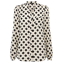 Buy Oasis Daisy Print Blouse, Black/White Online at johnlewis.com
