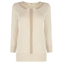 Buy Oasis Sparkle Collar Knitted Top, Light Neutral Online at johnlewis.com