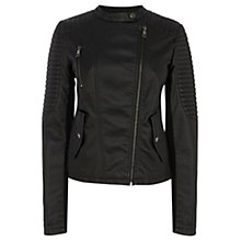 Buy Oasis Sophie Collarless Faux Leather Jacket, Black Online at johnlewis.com