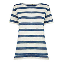 Buy Oasis Denim Lace Striped T-Shirt, Blue Multi Online at johnlewis.com
