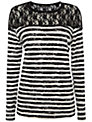 Rise Striped Hannah Top, Black / White