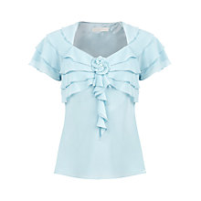 Buy Jacques Vert Frill Blouse, Pale Blue Online at johnlewis.com