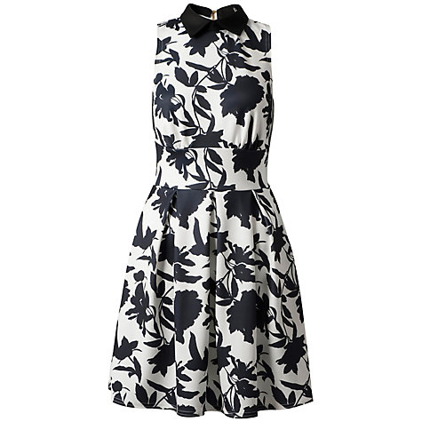 Buy Closet Collared Floral Dress, Black/White Online at johnlewis.com