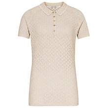 Buy Reiss Knitted Logan Polo Top, Lux White/Gold Metallic Online at johnlewis.com