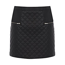 Buy Warehouse Quilted Zip Detail Skirt, Black Online at johnlewis.com