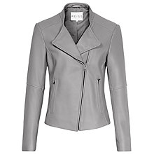 Buy Reiss Jenn Collarless Biker Jacket, Grey Online at johnlewis.com