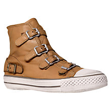 Buy Kurt Geiger Lizzy Leather High Top Trainers, Tan Online at johnlewis.com