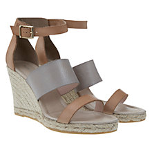 Buy Mint Velvet Greta Leather Raffia Wedge Sandals, Nude Online at johnlewis.com