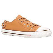 Buy Kurt Geiger Liberty Leather Lace Up Trainer Plimsolls, Tan Online at johnlewis.com
