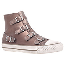 Buy Kurt Geiger Lizzy Leather Buckle High Top Trainers, Rust Online at johnlewis.com