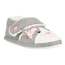 Buy John Lewis Girl Jersey Cat Slippers, Grey Online at johnlewis.com