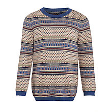 Buy John Lewis Heirloom Collection Boys' Fairisle Jumper, Navy/Red Online at johnlewis.com