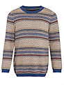 John Lewis Heirloom Collection Boys' Fairisle Jumper, Navy/Red