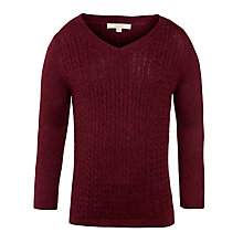 Buy John Lewis Boy Check Elbow Jumper, Burgundy Online at johnlewis.com