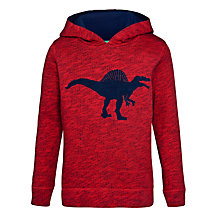 Buy John Lewis Boy Dinosaur Hoodie, Red Online at johnlewis.com