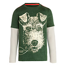 Buy John Lewis Boy Layered Sleeve Dog Print T-Shirt, Green Online at johnlewis.com