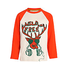 Buy John Lewis Boy 'Wild and Free' T-Shirt, Cream/Red Online at johnlewis.com