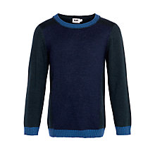 Buy John Lewis Boy Colour Block Knit Jumper, Navy/Green Online at johnlewis.com