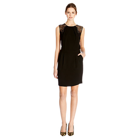 Buy Warehouse Grid Lace Dress, Black Online at johnlewis.com