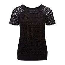 Buy Viyella Ella Lace Jersey Top, Black Online at johnlewis.com