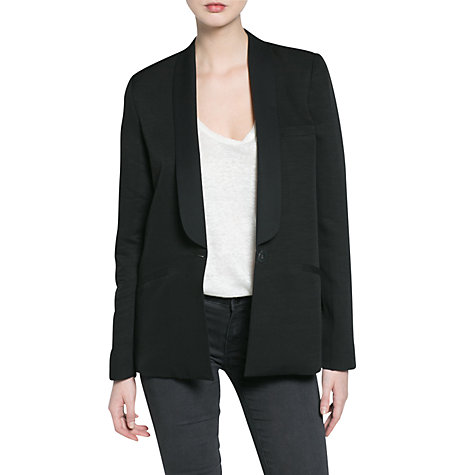 Buy Mango Linen Blend Tuxedo Blazer, Black Online at johnlewis.com