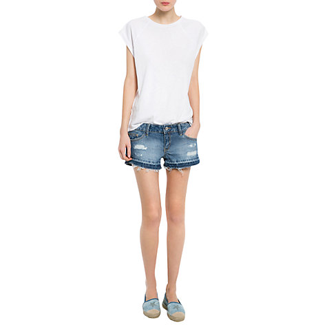 Buy Mango Bleached Denim Shorts, Light Blue Online at johnlewis.com