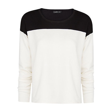 Buy Mango Colour Block Jumper, Natural White/Black Online at johnlewis.com