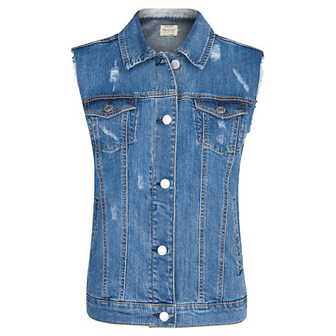 Buy Mango Denim Gilet, Medium Blue Online at johnlewis.com