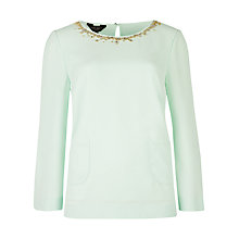 Buy Ted Baker Viiva Two Pocket Embellished Top, Pale Green Online at johnlewis.com