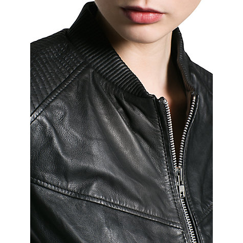 Buy Mango Leather Bomber Jacket, Black Online at johnlewis.com